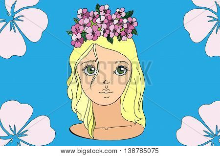 Young girl in wreath. Hand drawn vector stock illustration.