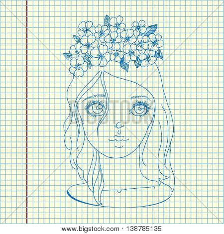 Young girl in wreath. Hand drawn vector stock illustration. Sheet ball pen drawing.