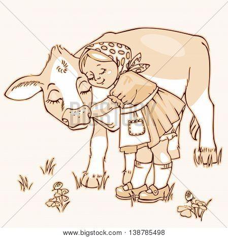 Cute little girl hugging cow on the field