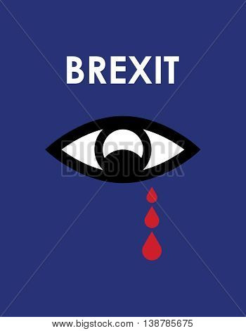 abstract brexit 2016 background, sad eye with red tears