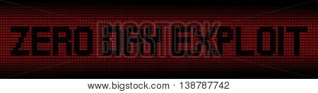 Zero Day Exploit text on red laptops background illustration