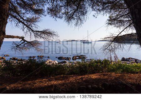 sunset and luxury yacht in the sea Rovinj Croatia