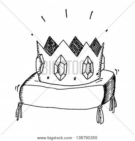 Golden crown with jewels. Hand drawn vector stock illustration. Black and white whiteboard drawing.