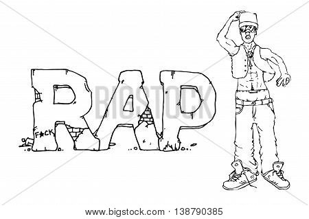 Rap singer. Hand drawn vector stock illustration. Black and white whiteboard drawing.