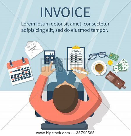 Invoice concept. Man at table calculations on payment bills receipts invoices. Flat design abstract vector illustration. Accounting checking. Paperwork calculation. Money counting.