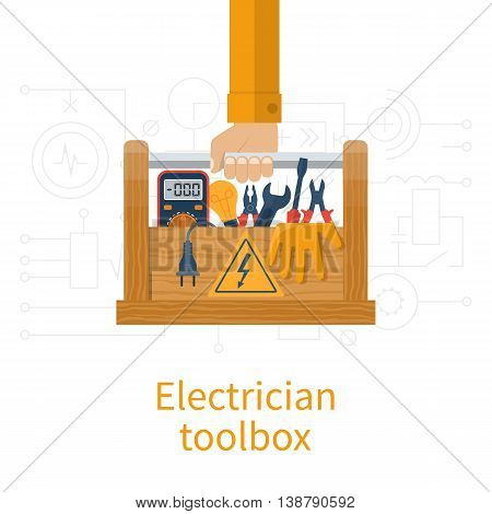 Toolbox electrician. Electricians in hand holding box of tools and equipment for repair and maintenance. Concept of electrical service center workshop. Vector illustration flat design.