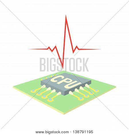 High CPU temperature icon in cartoon style isolated on white background. Technique symbol