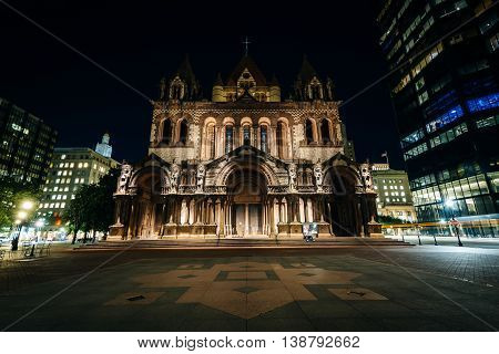 Trinity Church At Night, At Copley Square, In Boston, Massachusetts.