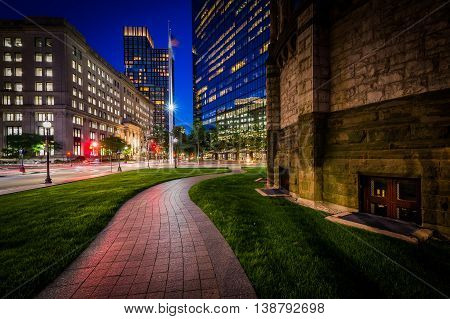 Walkway Adjacent To Trinity Church And Modern Buildings At Copley, In Back Bay, Boston, Massachusett