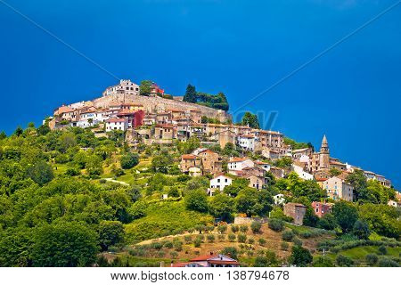 Town of Motovun on picturesque hill Istria Croatia
