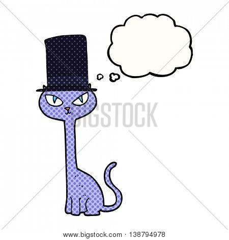 freehand drawn thought bubble cartoon posh cat