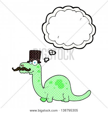 freehand drawn thought bubble cartoon posh dinosaur