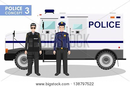 Detailed illustration of police car, SWAT officer and policeman in flat style on white background.