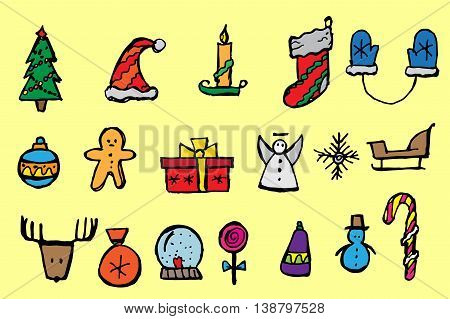 Christmas icons set. Holiday objects collection. Hand drawn vector stock illustration.