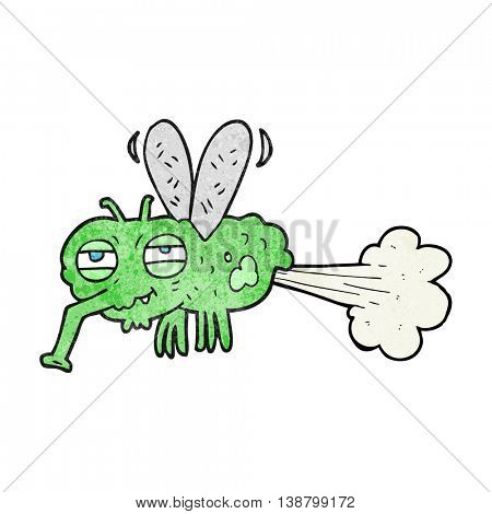 freehand textured cartoon gross farting fly