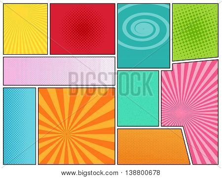 Comics book background. Mock-up of comics book page. Pop-art style. Template for web and mobile applications