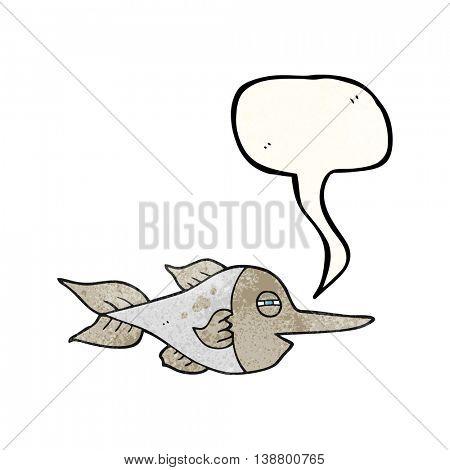 freehand drawn texture speech bubble cartoon swordfish