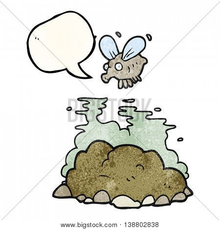 freehand speech bubble textured cartoon fly and manure