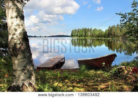 Beautiful nature of Finland, lakes and fishing