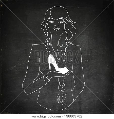 Woman holding shoes. Hand drawn vector stock illustration. Chalk board drawing.