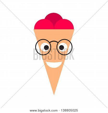 Pink Ice Cream Cones Cartoon Character. Mr Ice cream in glasses.