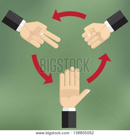 Illustration how to play rock scissors paper makes you can win the games.
