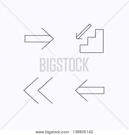 Arrows icons. Downstairs, next and back linear signs. Next, back arrows flat line icons. Flat linear icons on white background. Vector