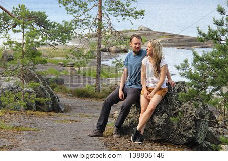 Beautiful nature wild of Finland and pair in love