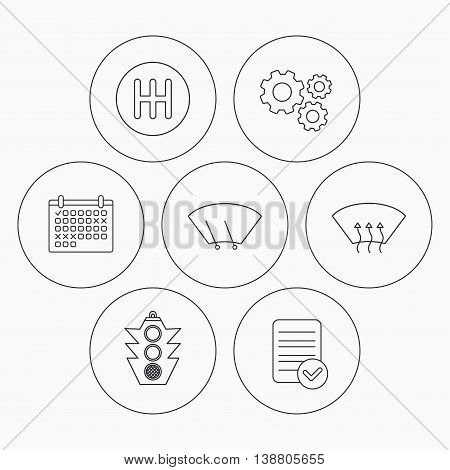 Traffic lights, manual gearbox and wiper icons. Heated window, manual transmission linear signs. Washing window icon. Check file, calendar and cogwheel icons. Vector
