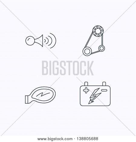 Accumulator, klaxon signal and generator belt icons. Accumulator linear sign. Flat linear icons on white background. Vector