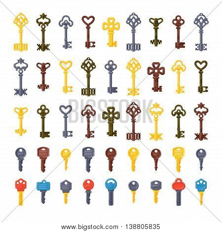 Vintage key antique door key set isolated on white background. Access household vintage key. Retro door metal security vintage key and vintage key safe house decorative. Decorative key silhouette