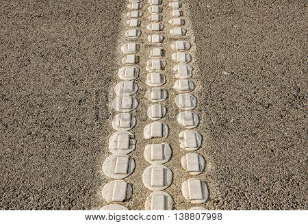 Speed bumps on asphalt road. Concept of traffic safety. Horizontal.