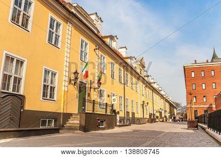 RIGA, ESTONIA - APRIL 30, 2010: Jacob's Barracks in the historical center of Riga, Estonia