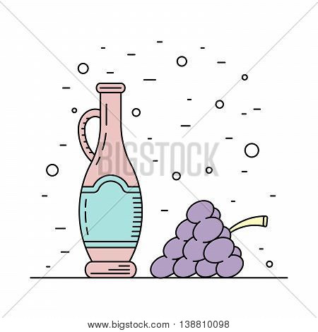 A bottle decanter made of glass vector flat outline for wine. Glass bottle for liquid wine.