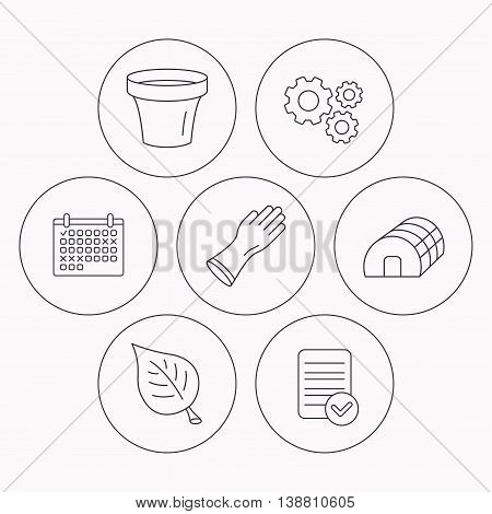 Leaf, scissors and pot icons. Hothouse linear sign. Check file, calendar and cogwheel icons. Vector