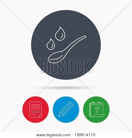 Spoon with water drops icon. Baby medicine dose sign. Child food symbol. Calendar, pencil or edit and document file signs. Vector