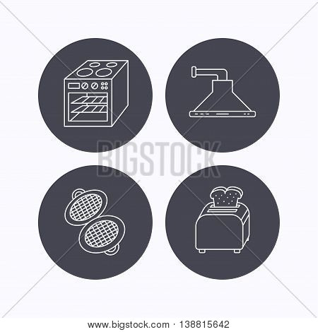 Oven, toaster and waffle-iron icons. Kitchen hood linear sign. Flat icons in circle buttons on white background. Vector