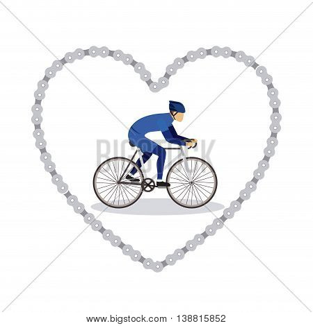 sports bike in chain heart  isolated icon design, vector illustration  graphic
