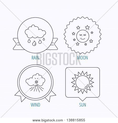 Weather, sun and rain icons. Moon night and wind linear signs. Award medal, star label and speech bubble designs. Vector