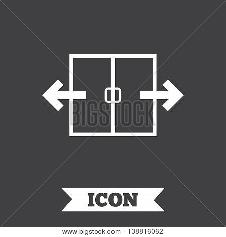 Automatic door sign icon. Auto open symbol. Graphic design element. Flat automatic door symbol on dark background. Vector