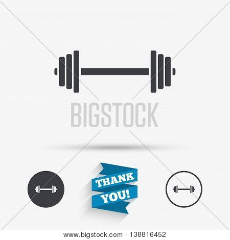Barbell sign icon. Muscle lifting symbol. Flat icons. Buttons with icons. Thank you ribbon. Vector