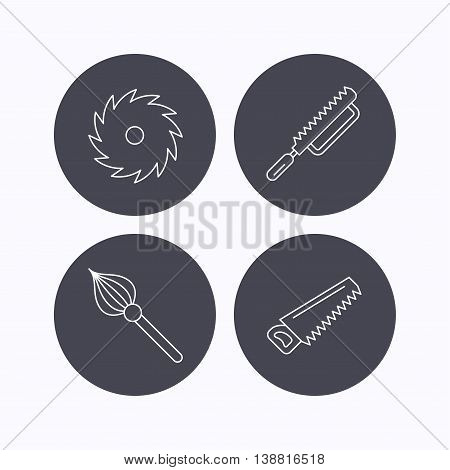 Fretsaw and repair tools icons. Circular saw and brush linear signs. Flat icons in circle buttons on white background. Vector
