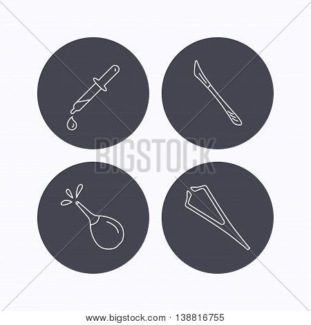 Pipette, medical scalpel and clyster icons. Tweezers linear sign. Flat icons in circle buttons on white background. Vector