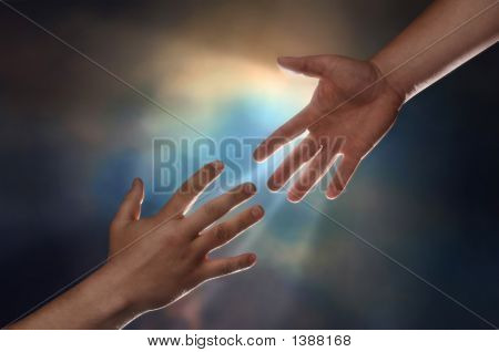 Two male hands; one reaching down to assist another hand reaching up with sunburst in the background poster