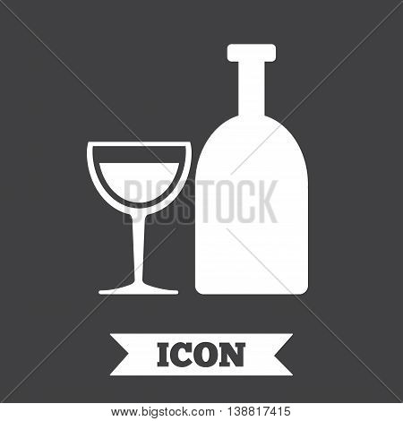 Alcohol sign icon. Drink symbol. Bottle with glass. Graphic design element. Flat alcohol symbol on dark background. Vector