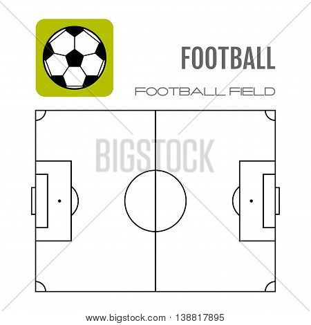 Soccer field with flat icon ball. Football. Vector illustration