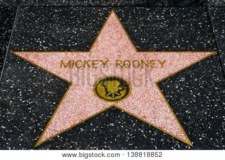 Mickey Rooney Star On The Hollwyood Walk Of Fame