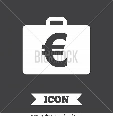 Case with Euro EUR sign icon. Briefcase button. Graphic design element. Flat diplomat symbol on dark background. Vector