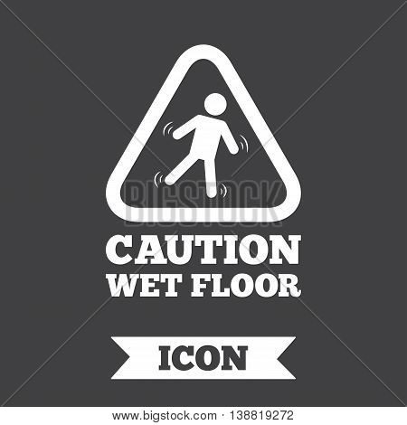 Caution wet floor sign icon. Human falling triangle symbol. Graphic design element. Flat slippery floor symbol on dark background. Vector