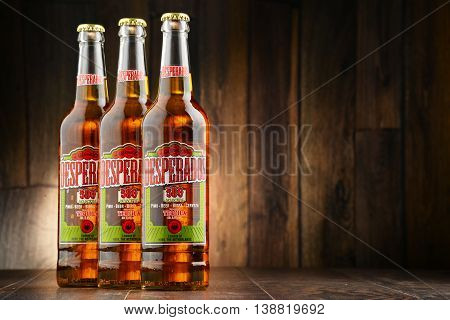 POZNAN POLAND - JULY 14 2016: Desperados a pale lager flavored with tequila is a popular beer produced by Heineken and sold in over 50 countries.